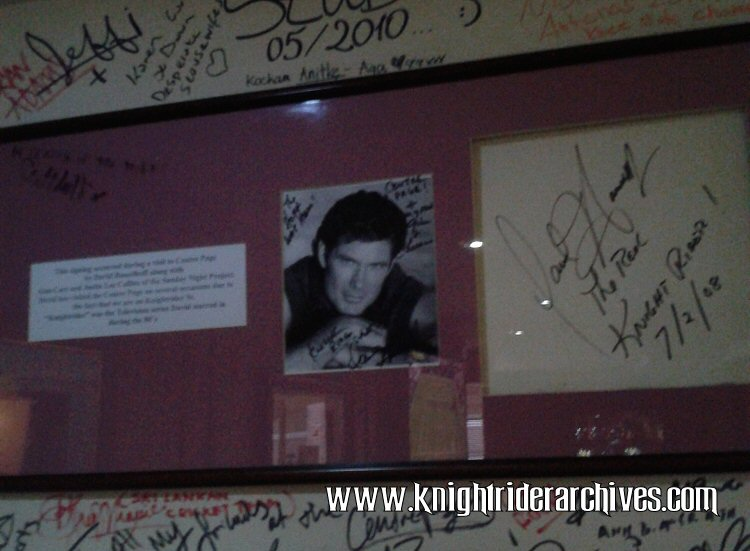 David Hasselhoff autograph display at The Centre Page Pub on Knightrider Street